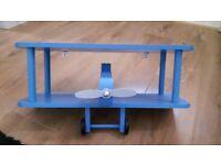 Blue wooden aeroplane shelf