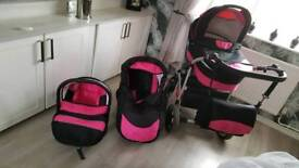 Black and pink travel system