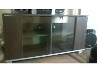 wood and glass tv unit