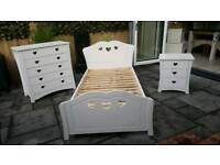 Childs white high quality bedroom furniture.