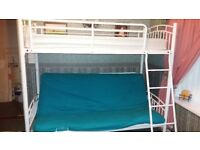 EXELLENT WHITE HIGH RISER BED WITH DOUBLE BED FUTON
