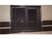 BROWN WOODEN BLINDS WITH 1 INCH TAPE 44 WIDE X 38 INCH DROP 7 MONTHS OLD