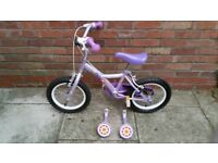 "Apollo Petal Girls Bike Lilac 14"" with detachable stabilisers"