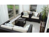 BROWN RATTAN SOFA, 2 CHAIRS AND COFFEE TABLE IN GREAT CONDITION WITH REUPHOLSTERED SEAT CUSHIONS