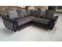 ***BRAND NEW* The Luxury Helix Chenille Fabric And Leather Corner Sofas ** Grey/black or brown/minx