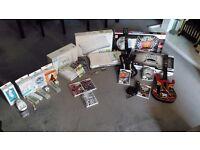 Huge Wii Bundle w. Wii Fit, Guitars, Mic, Batteries & Games