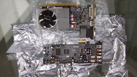 GeForce GT430 DDR3 1GB PCIe Computer grapics card. ASUS PCI Express 5.1-channel gaming audio card.