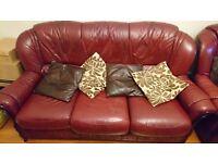 Burgandy german leather sofa set