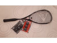 Squash racket (used once) + 6 balls