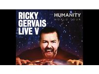 2x Ricky Gervais Tickets - Brighton Centre - Tuesday 9th May - 09.05.17 - South Stalls Row D