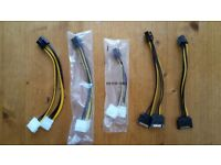 Adaptor cables for powering graphics cards, 6-pin and 8-pin, £1 each