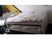 White faux Leather single bed with guest bed