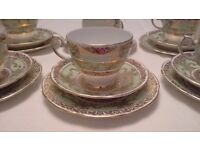 Stunning Gladstone China Tea Set 6 x Trios, Jug, Sugar Bowl. Vintage Wedding, Christmas, Tea Party.