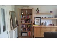 2 Tall Oak Billy Bookcases With Glass Doors in Good Condition