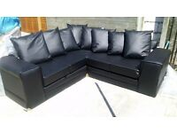 Leather Corner Sofa Brand New and unused, colour black, still packed, can deliver.