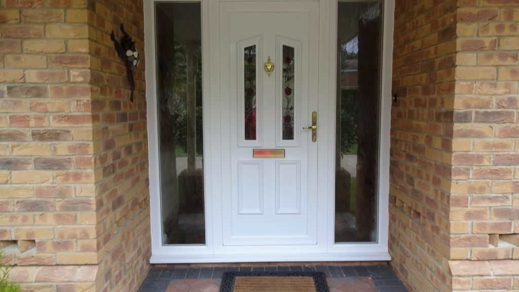Front Door With 2 X Full Glass Side Panels White Upvc Rose Design 1890cm X 2085cm In