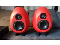 Munro Sonic egg 100 Monitors - RED with Amp & Stands