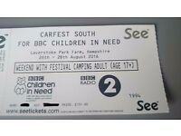 Carfest South Weekend camping ticket All August Bank Holiday weekend 26th-29th August