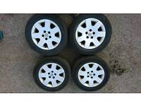 4 x Vauxhall Alloy Wheels 16 inch with excellent tyres 5 x 110mm PCD