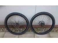 Pair of mavic 26inch disc mountain bike wheels