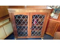 Stunning Antique Solid Oak Bookcase with Leaded Glass Doors and Hidden Storage