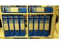 Ten blue lever arch binders - unused.
