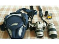 Pentax mz-50 camera +2 different lenses + antler case