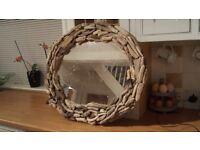 Gorgeous handmade oval driftwood mirror