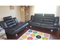 DFS - Genuine Black Leather Sofa
