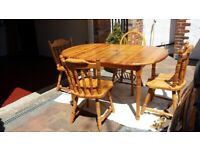 Pine table (extendable) and 4 chairs