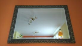 Very nice and big decorative carved gold crystal mirror!in good condition! Can deliver or post