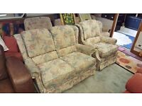 Cream and Green Floral Pattern Two Seater Sofa and Armchair in Great Condition