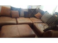 Large brown leather corner sofa
