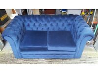 Dark blue dralon 2 seater sofa