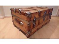 Vintage steamer hardware wooden trunk