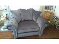 New silver grey velvet chesterfield 3 pc