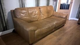 Leather sofa, chair & foot stool.