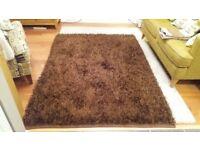 Brown deep pile rug