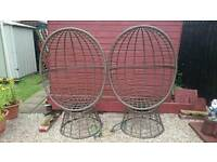 Weather treated steel swivel chairs X2