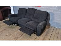 BLACK 3 SEAT REAL NICE FABRIC FULLY RECLINING SOFA 99 WITH DELIVERY
