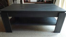 Coffee Table - black, wood grain effect, heavy high quality. £35