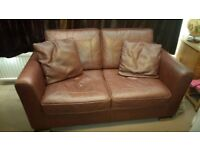 Real Leather Chocolate Brown 2 Seat Sofa with stitching detail & 2 matching leather scatter cushions