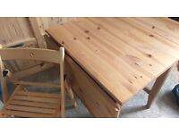 Drop leave pine table and 4 chairs