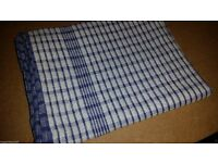 10 x Large Catering Quality Wonder Dry Blue Checked Kitchen Tea Towels 100gm