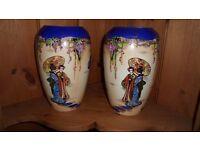 Vintage Art Nouveau Pair Of Porcelain Oriental Vases