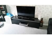 Black high gloss wide tv stand used from ikea