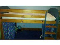Children's Mid Sleeper Bed with desk and bookshelf (mattress if wanted) - Verona Antique Pine/Blue