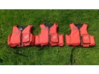 3x YAK Lifejackets 1xSmall 2xMedium for Kayak Canoe. All excellent condition.