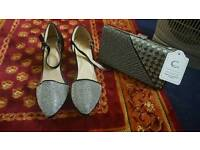 Brand New Sandals shoes size 6+ Clutch bag