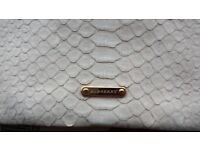 Genuine Burberry Clutch/Purse, Made in Italy, Beige, Python Skin+Suede Goat, Rare,Serial Number